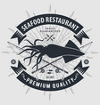seafood restaurant logo with squid vector image