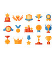 set awards icons golden vector image