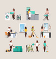 set housewife doing housework different vector image