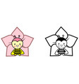set two bees with flowers color and black