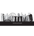 singapore landmarks skyline in black and white vector image vector image