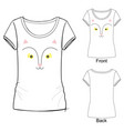 t shirt with fashion print cat fox vector image