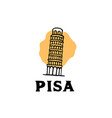 vintage hand drawn pisa tower logo template vector image vector image