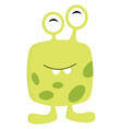 yellow and green 2 eyed monster print on white vector image vector image