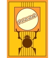 Funny robot holds a pizza box Food delivery vector image