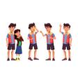 asian teen boy poses set activity vector image