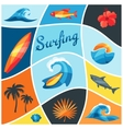 Background with surfing design elements and vector image vector image