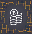 bitcoin coin flat icon on circuit board background vector image vector image