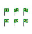 brazil flag icons set symbols flag of vector image