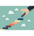 Business hand insert a piece of staircase vector image vector image
