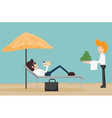 Business man relaxing on the beach vector image