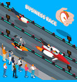 business race isometric composition vector image