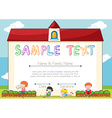Certificate template with children on background vector image vector image