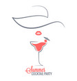 cocktail summer party logo menu background vector image vector image