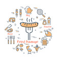 colorful icons for picnic meal outside vector image