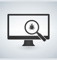 computer monitor with magnifying glass and bugs vector image vector image