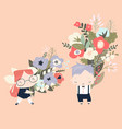 cute cartoon children holding bouquets flowers vector image