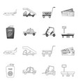 design airport and airplane icon set of vector image vector image