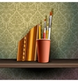 Different art brushes and pencils in flask vector image vector image