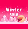 discount poster winter sale vector image vector image
