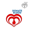 Double hearts with drop of blood inside icon vector image