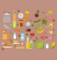 everyday food common goods organic products we get vector image