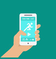 Fitness app on a mobile phone in hand vector image vector image