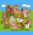 funny cartoon farm animals characters group vector image vector image