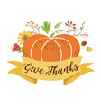 give thanks pumpkin flowers happy thanksgiving vector image vector image
