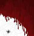Halloween card with bloody background and spider vector image vector image