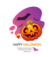 happy halloween greeting card with pumpkin jack vector image vector image
