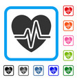heart pulse framed icon vector image vector image