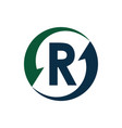 initials letter r with arrow logo designs vector image