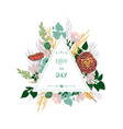 invitation templates with floral and typographic vector image vector image