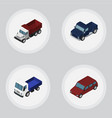 isometric transport set of car suv freight and vector image vector image