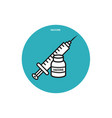 medical syringe and plastic vaccine bottle icon vector image