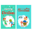 merry christmas poster with lettering children vector image vector image