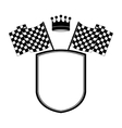 monochrome shield with crown and racing flags vector image