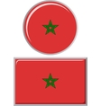Moroccan round and square icon flag vector image vector image