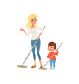 mother and her little son sweeping the floor at vector image
