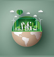 paper art concept of eco friendly save the earth vector image vector image