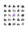 parent and child interaction black glyph icons vector image vector image