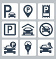 parking related icon set vector image
