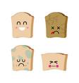 piece bread set emoji sad bread with mold vector image