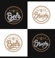 premium beer emblems handwritten lettering logo vector image vector image