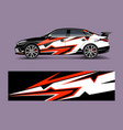 racing car wrap with abstract stripe shapes