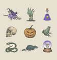 retro style halloween collection vector image