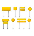 road yellow sign realistic highway signage vector image
