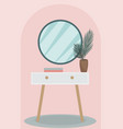 round mirror on a vintage pedestal table in the vector image