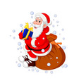 santa claus sitting sack full of gifts vector image vector image